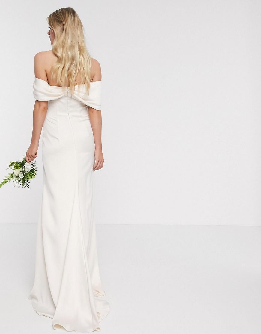 ASOS EDITION bardot drape wrap wedding dress vedere spate