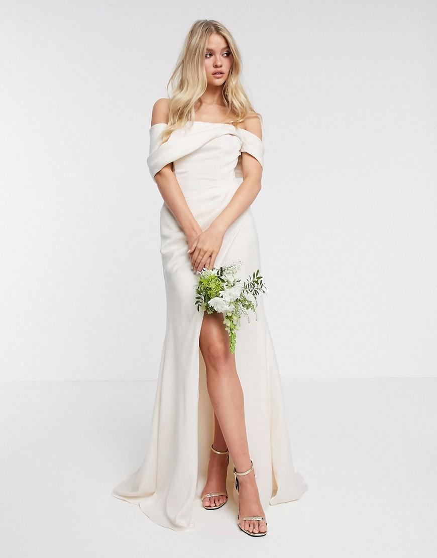 ASOS EDITION bardot drape wrap wedding dress