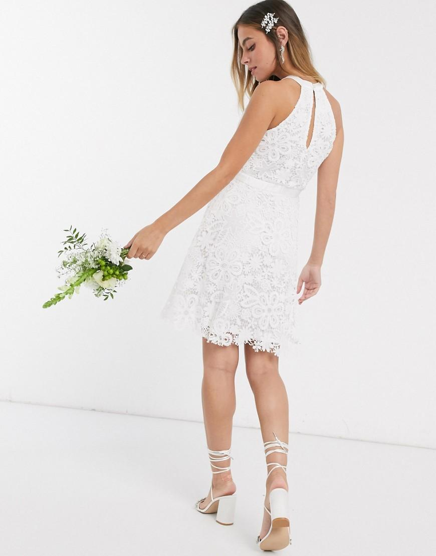 Y.A.S Petite wedding mini dress in white lace vedere spate