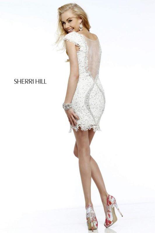 Rochie de Mireasa Scurta Dantela Ivory Sherri Hill 9803 2